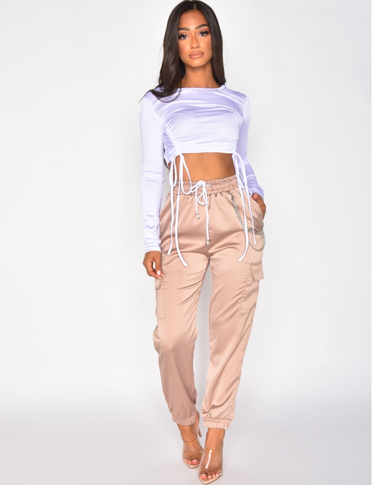 Crop-top froncé en satin