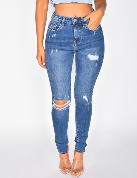 Jeans mit hoher Taille, Skinny Fit, destroy