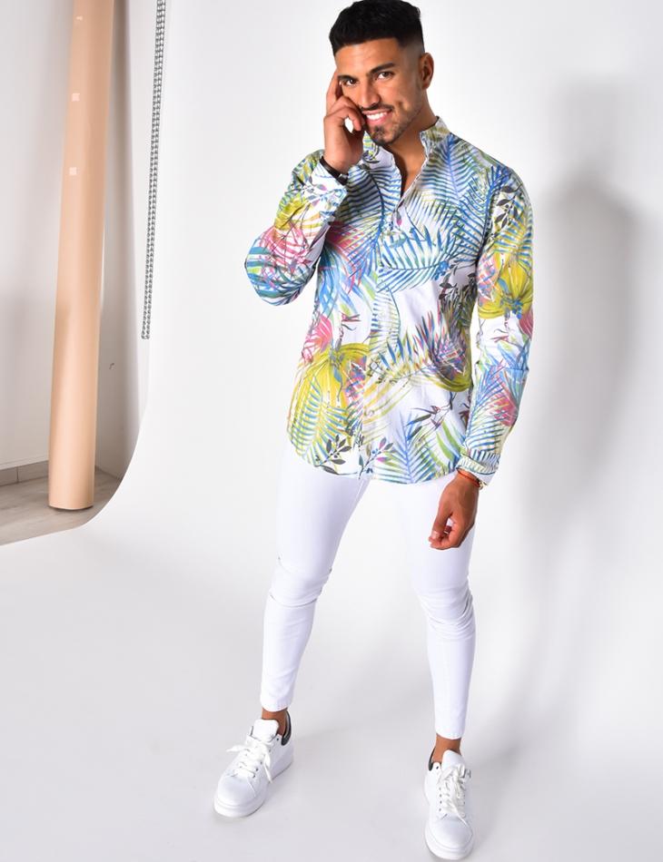 Chemise manches longues à motifs tropicaux