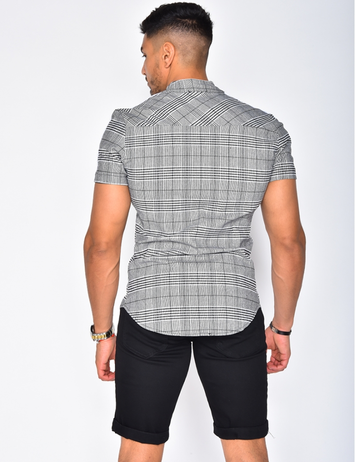 Chemise à carreaux et bandes