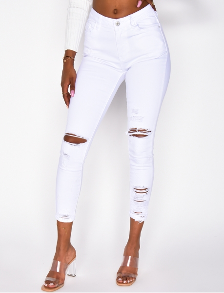 Jeans skinny taille haute destroy
