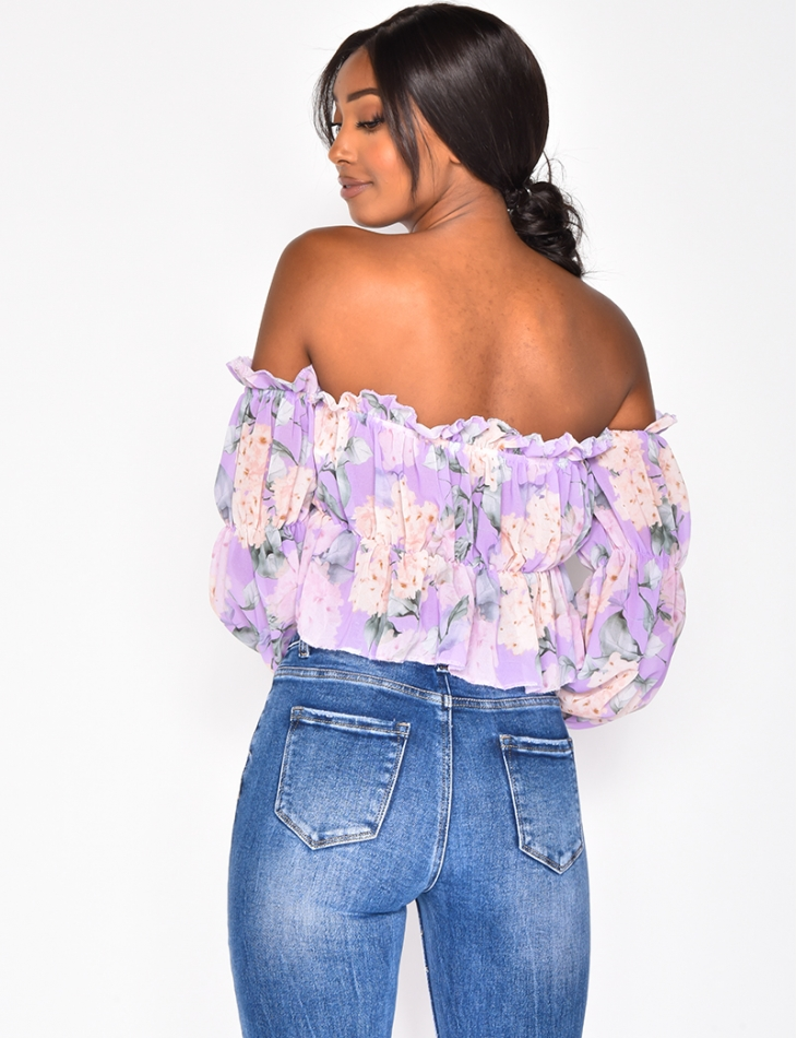 Crop Top with Flower Pattern