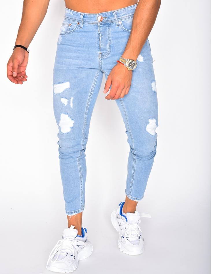 Jeans destroy à doublure