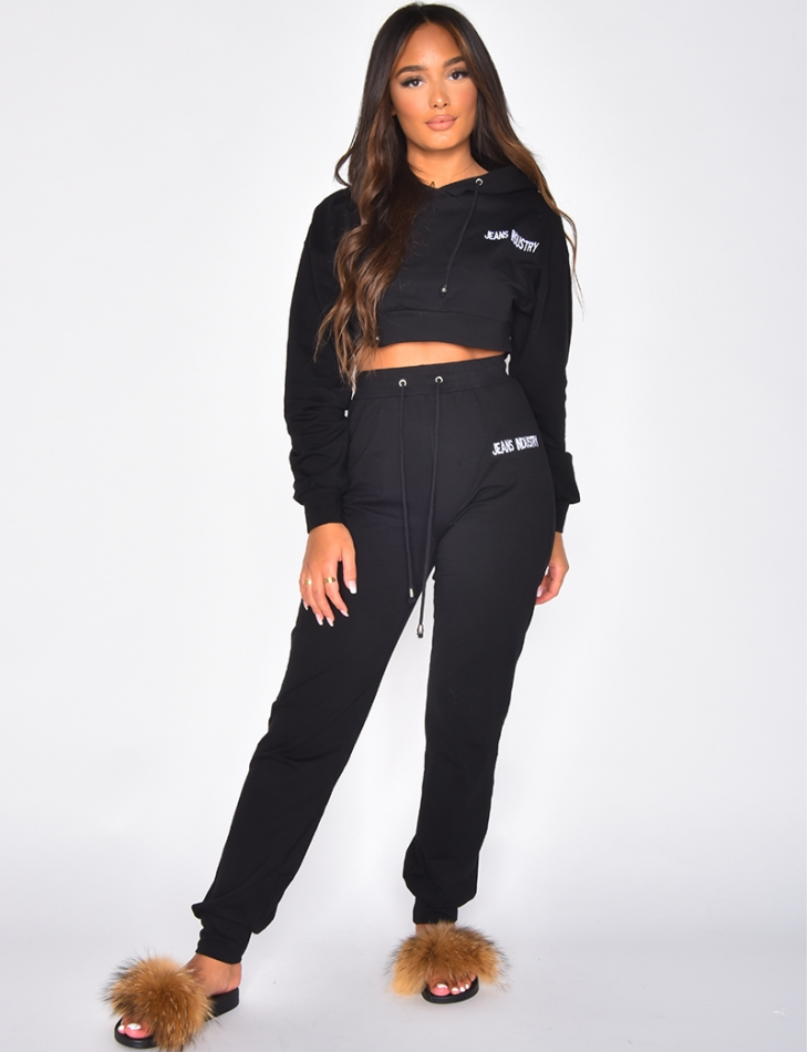 Jeans Industry Hooded Crop Top and Jogging Bottoms Co-ord