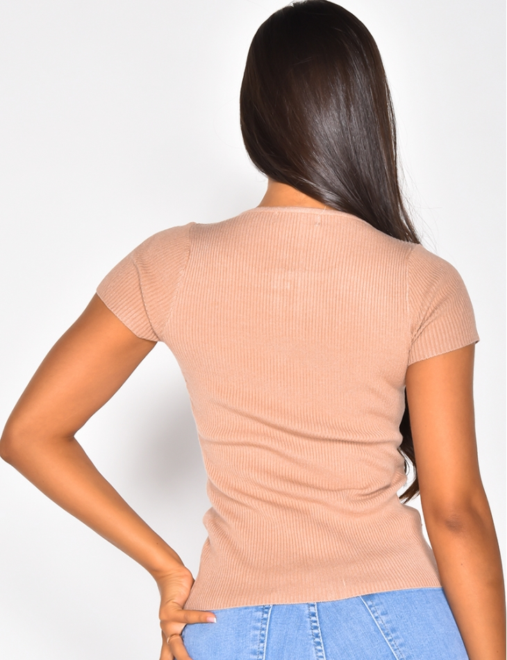 Ribbed Top with Zip