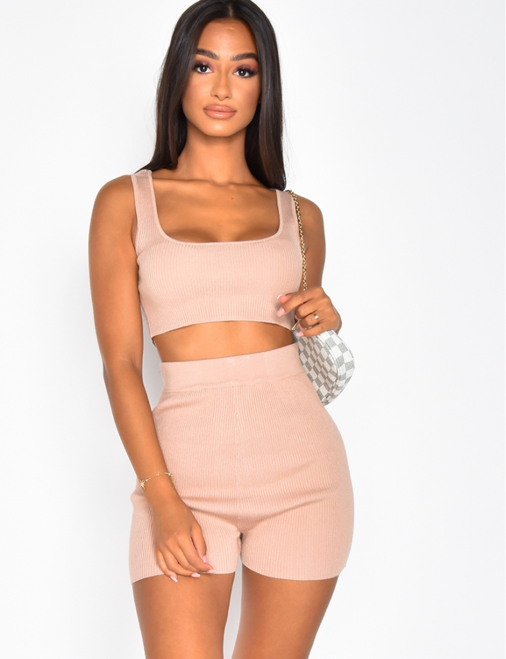 Ribbed Bralette and Cycling Shorts Co-ord