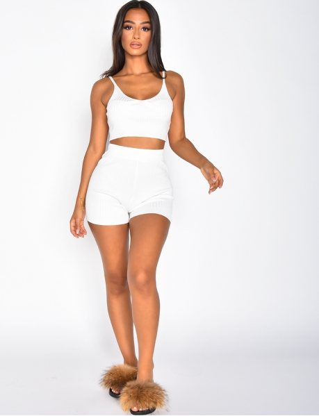 Ribbed Bra and Shorts Co-ord