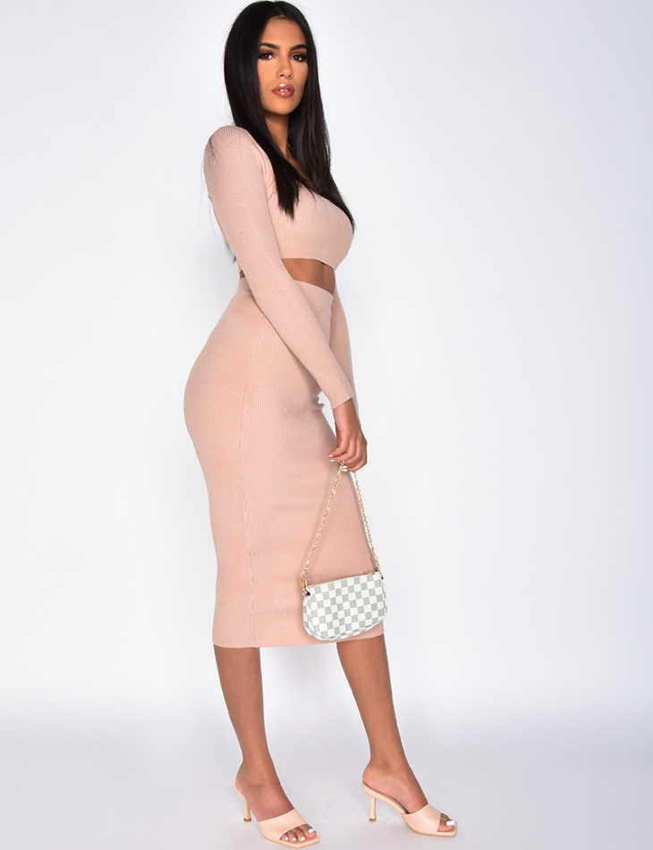 Ribbed Long-Sleeved Crop Top and Long Skirt Co-ord