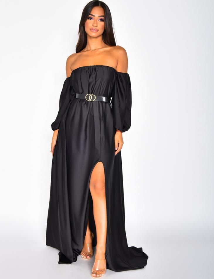 Robe longue en satin à ceinture