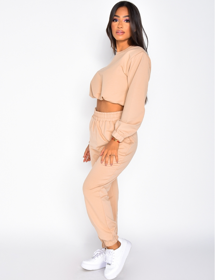 Ensemble pantalon de jogging et pull court