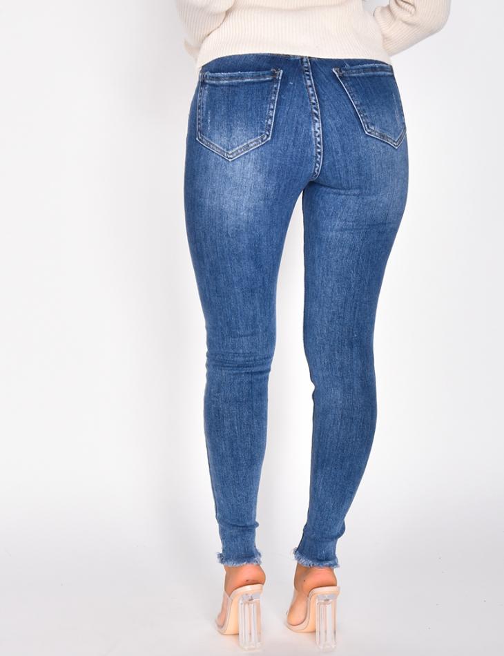 Jeans taille haute skinny destroy