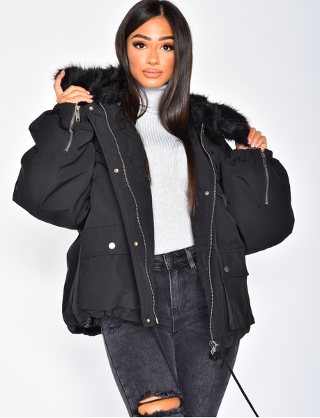 Short Parka with Fur Collar