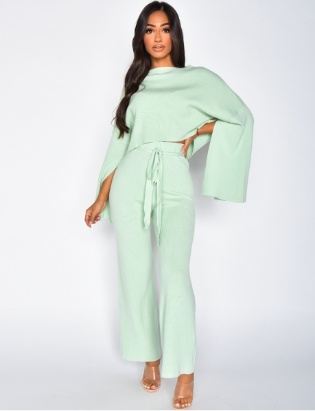 Short Jumper and Tie Flared Trousers Co-ord