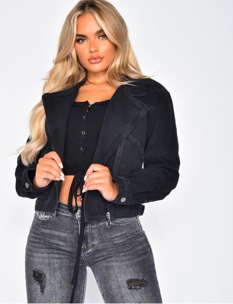 Veste en jeans à zip effet motard