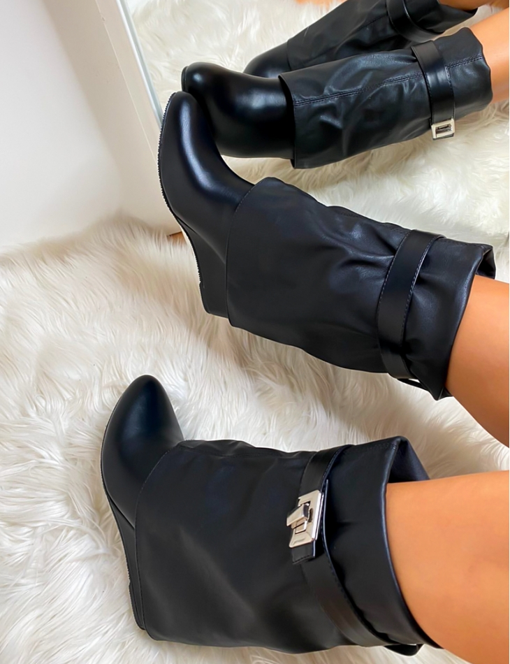 Faux Leather Wedge Ankle Boots
