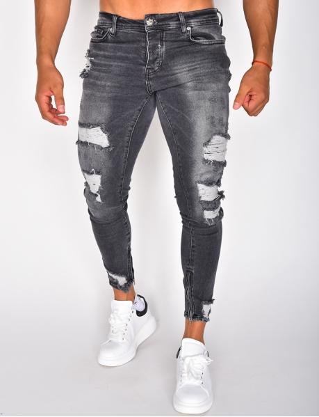 Jeans destroy à zip