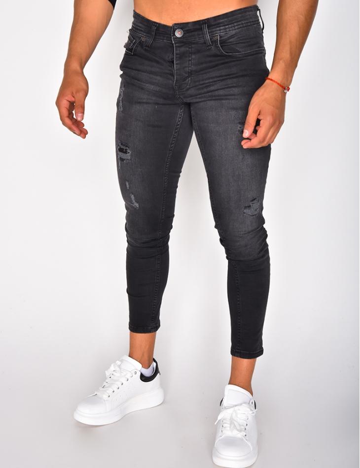 Jeans gris destroy
