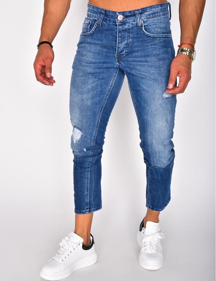 Jeans bleu foncé destroy