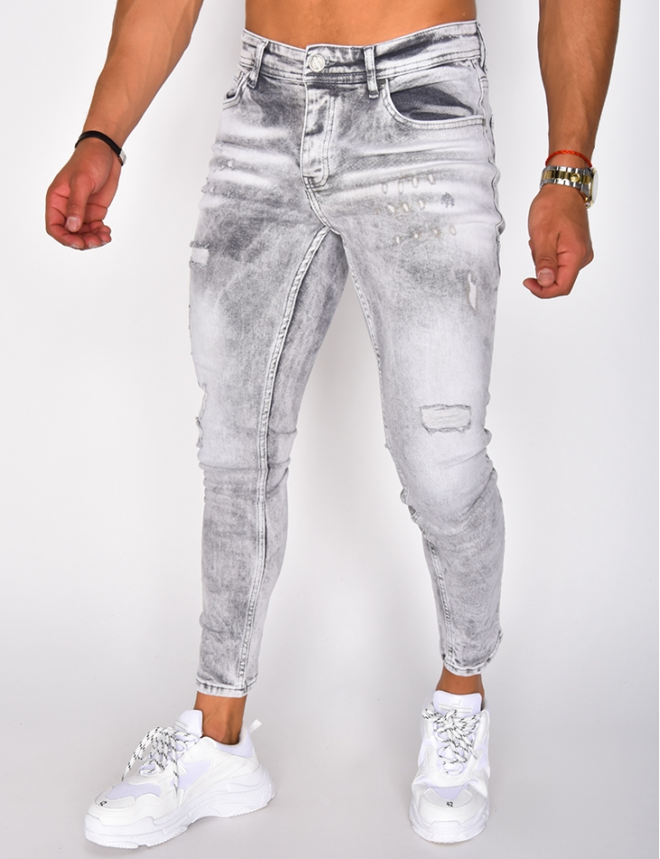 Faded Ripped Slim Jeans