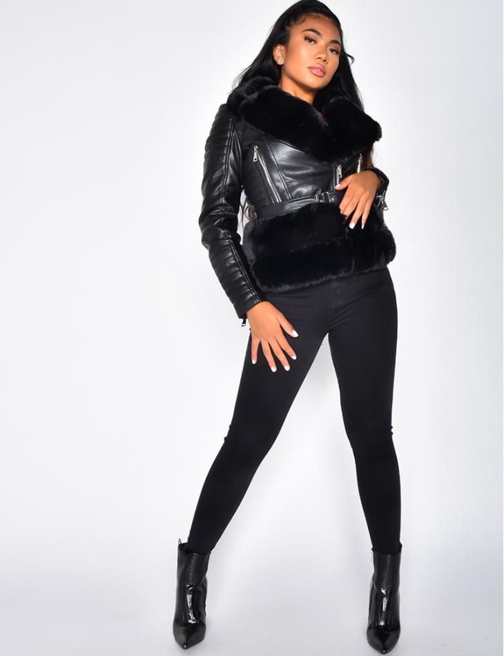 Faux Leather Biker Jacket with Faux Fur