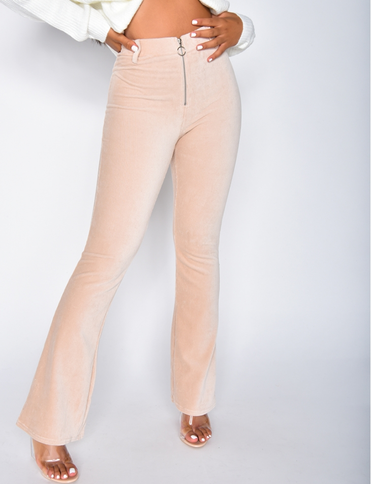 Flared Velvet Trousers with Zip