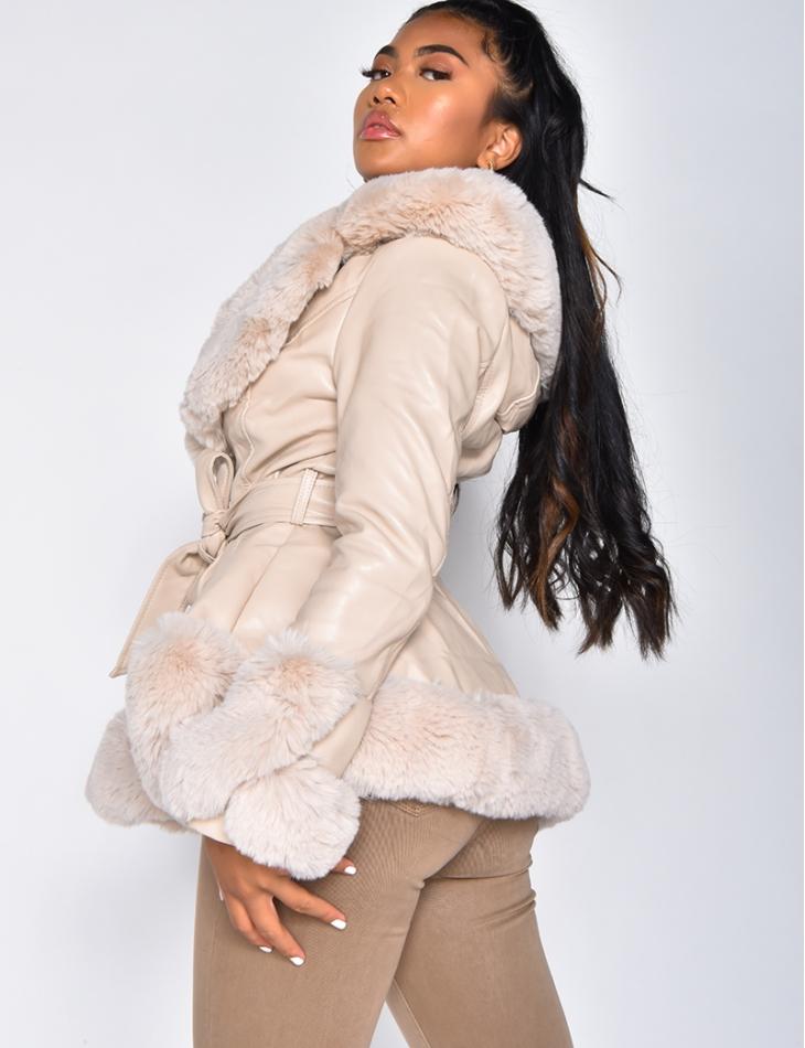 Tie Jacket with Faux Fur Hood