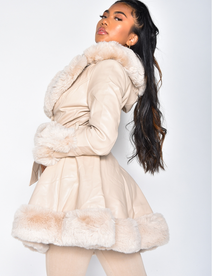 Faux Leather and Faux Fur Tie Jacket