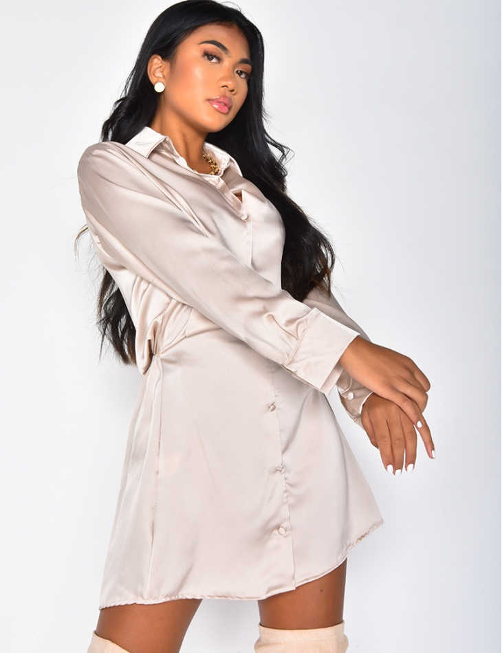 Loose-fitting Satin Shirt Dress