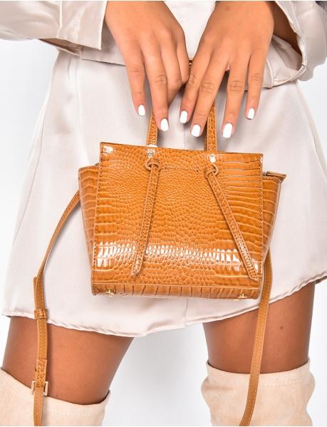 Small Faux Crocodile Skin Handbag