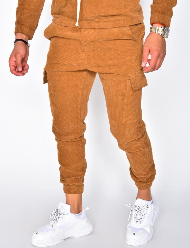 Pantalon cargo en velours