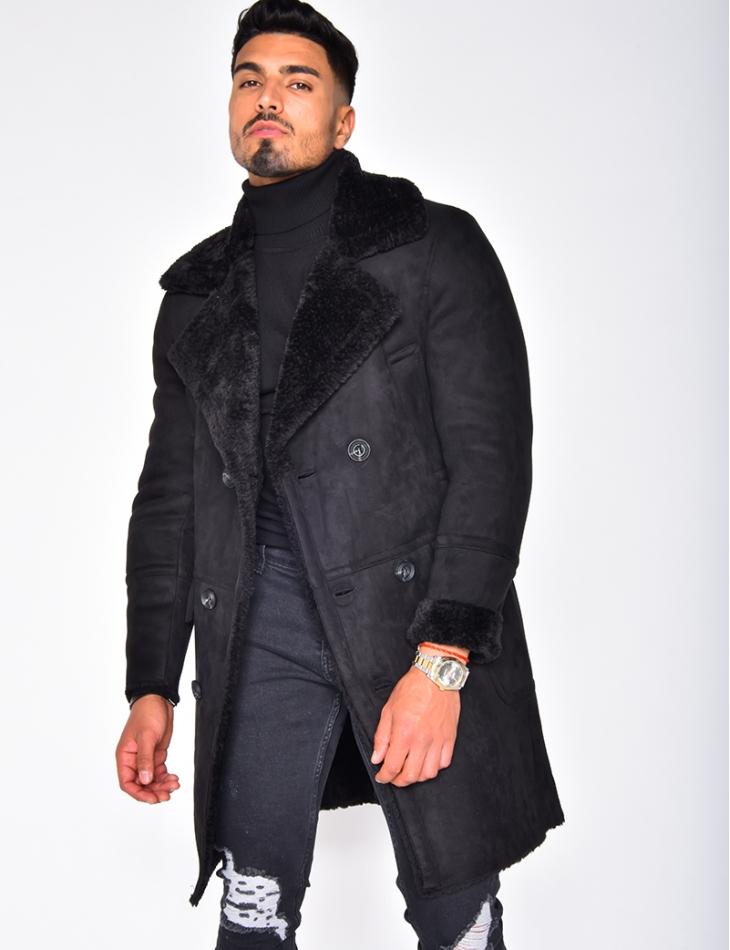 Manteau en suédine molletoné