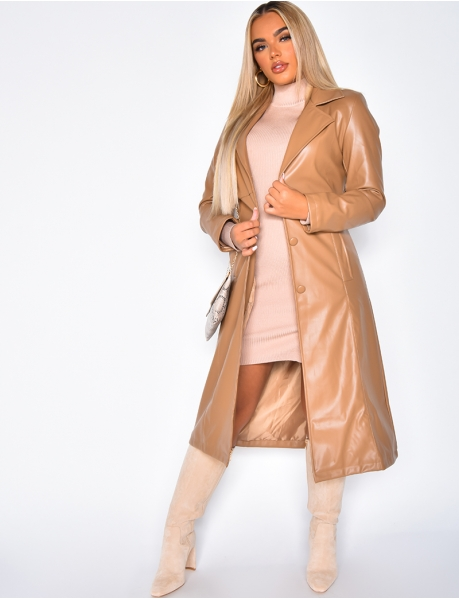 Faux Leather Tie Coat with Buttons