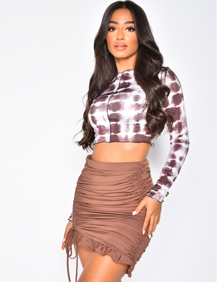 Long Sleeved Speckled Crop Top