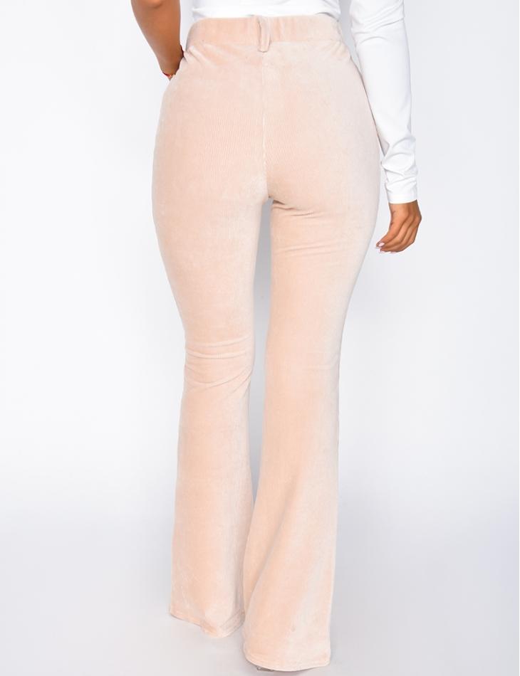 Pantalon en velours à zip et patte d'eph