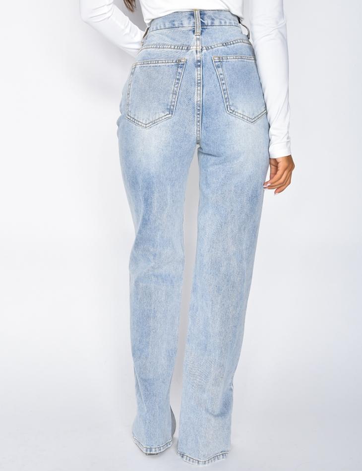 Jeans straight taille haute à fentes sur l'avant