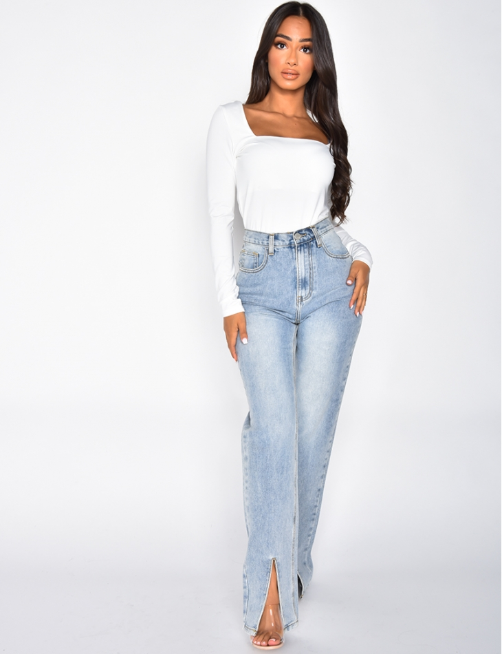 High Waisted Straight Leg Jeans with Slits at the Front