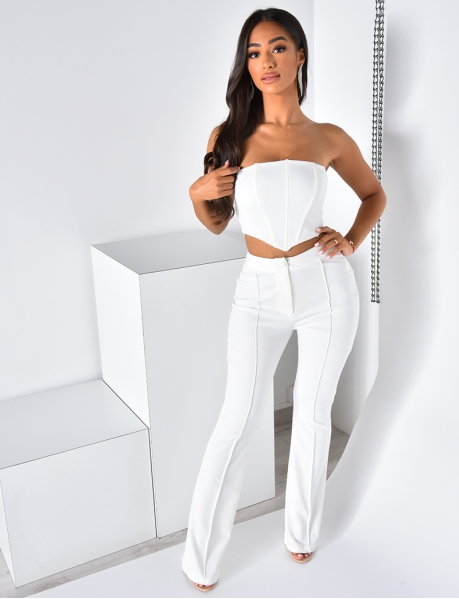 Bustier Crop Top and Flared Trousers Co-ord