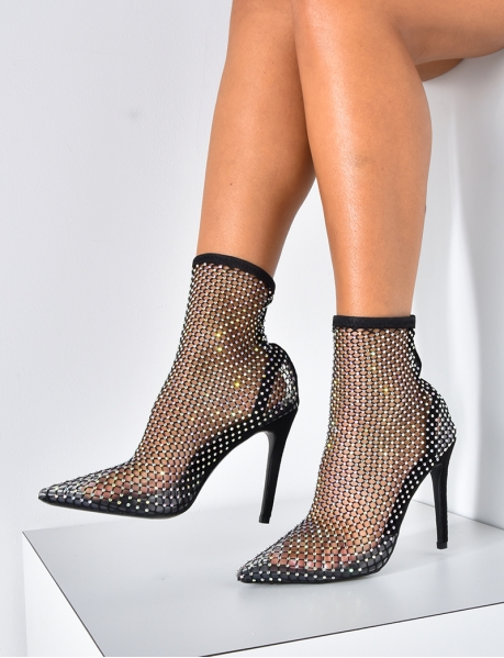 Mesh Ankle Boots with Diamantés