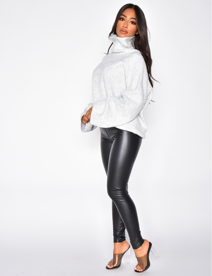 High Neck Jumper with Wide Sleeves