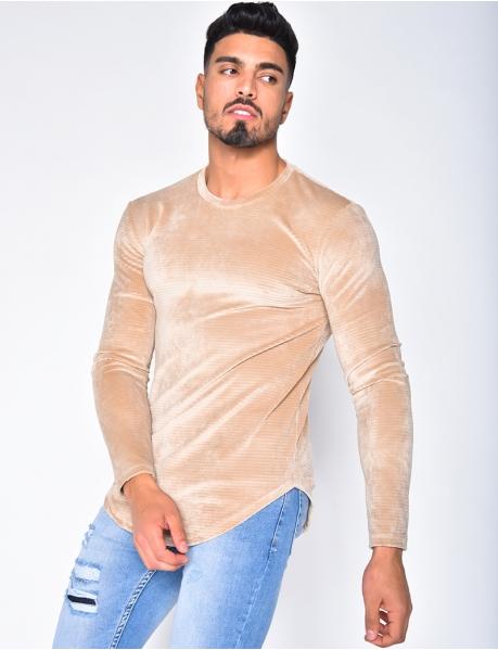 Pullover aus texturiertem Wildleder