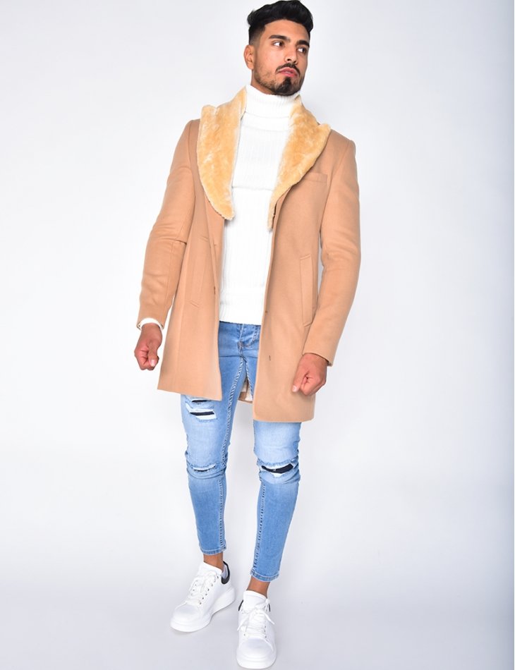 Manteau à col en fourrure