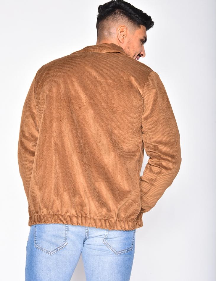 Veste chemise à zip en velours