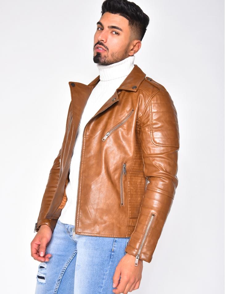 Leather Jacket with Zip