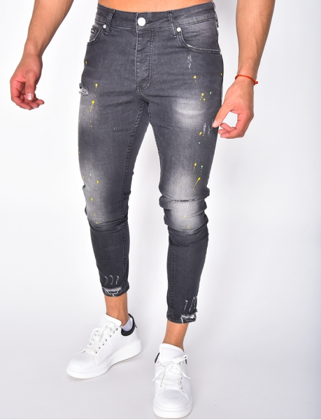 Slim Ripped Jeans with Paint Flecks