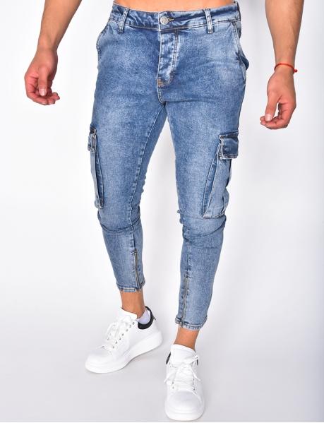 Jeans délavé à poches et zip