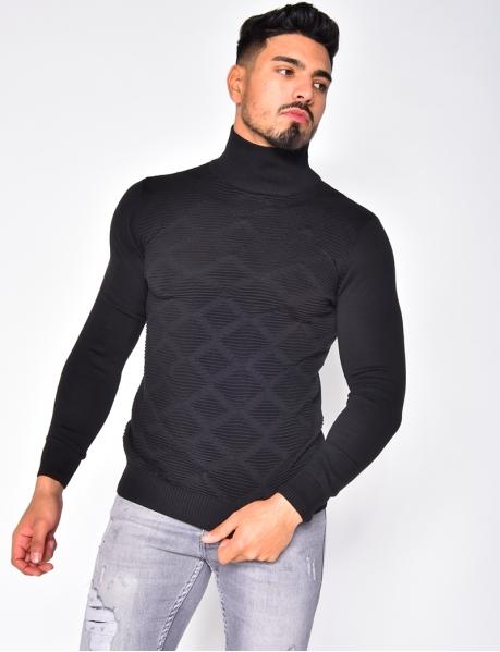 Texturierter Pullover mit Stehkragen