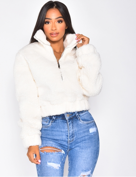 Pull-On Sheepskin-Style Jacket/Sweatshirt