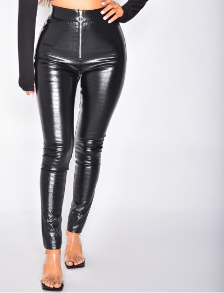 Pantalon à zip effet croco
