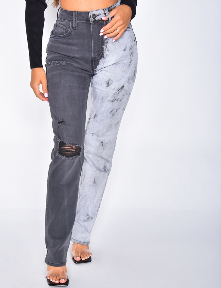 Mom jeans destroy tie and dye