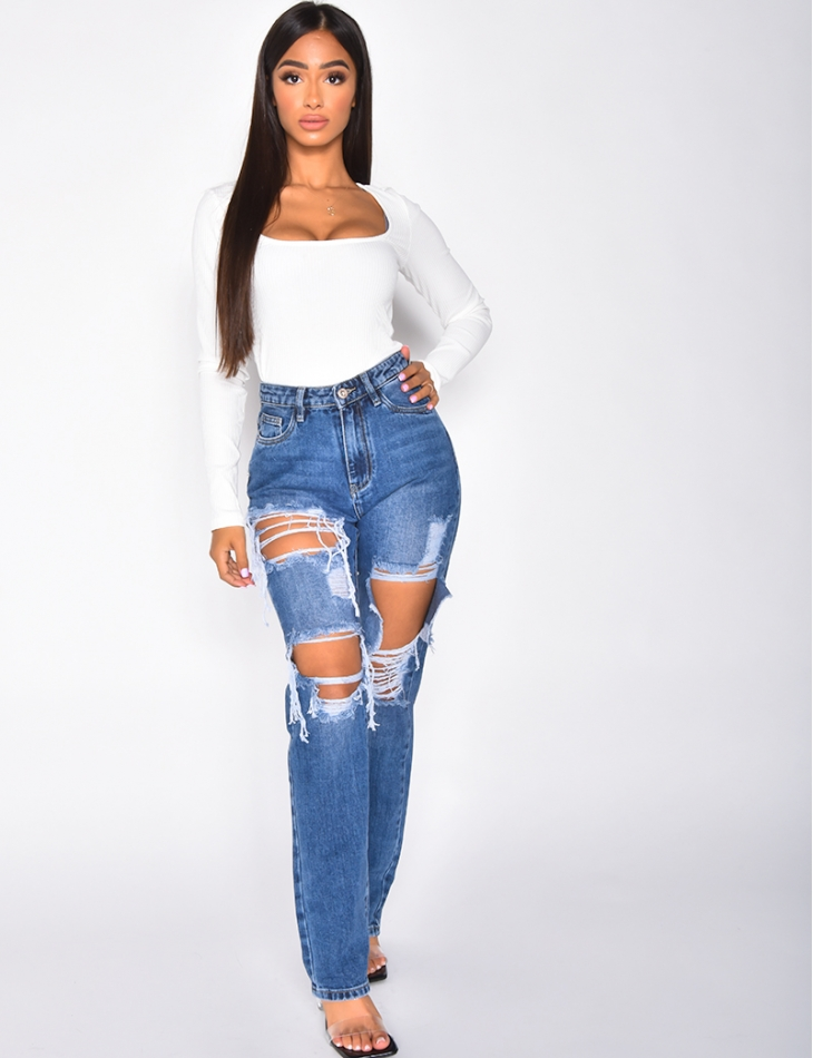 Jeans High Waist in Destroyed-Optik, straight